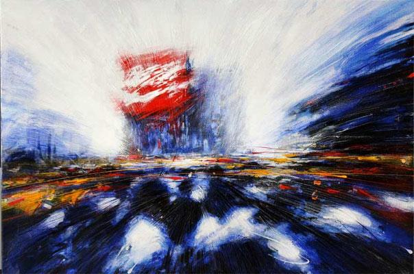 TIMES SQUARE, 1988, Tempera, Acryl auf Leinwand, 70 x 100 cm