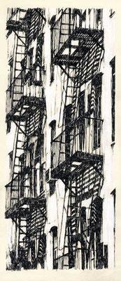 FIRE STAIRS, 2003, Feder, Tusche auf Karton, 12 x 30 cm