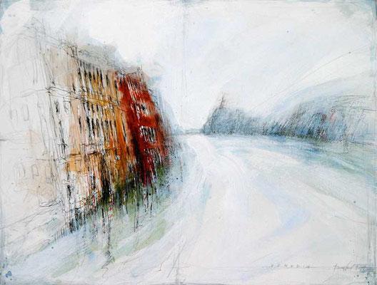 VENEDIG, CANALE GRANDE, 2003, Bleistift, Feder, Tusche, Acryl lauf Karton, 40 x 60 cm