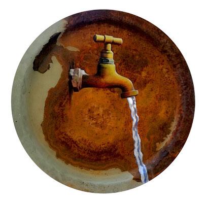Wasserhahn, Öl auf Rost, Durchmesser 34 cm