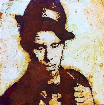 Tom Waits, Acryl auf oxydiertem Stahlblech, 50 x 50 cm