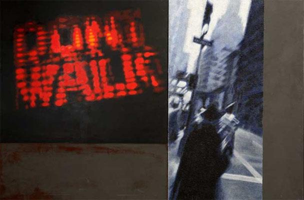 DONT WALK, 2010, Acryl, Granit auf Leinwand, 120 x 180 cm