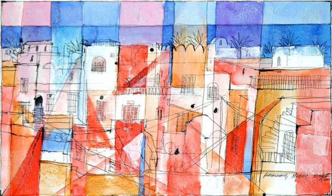 HAMMAMED, 2005, Feder, Tusche, Aquarell, Acryl, Kreide, 32 x 55 cm