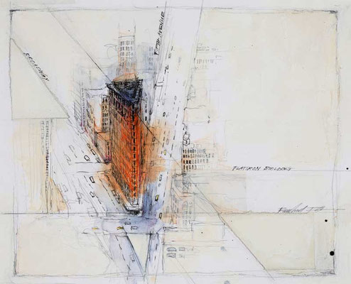 FLATIRON BUILDING, 1998, Feder, Tusche, Aquarell, Acryl, Strukturpaste, 24 x 32 cm