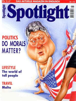 Titel: Clinton, Kunde: Spotlight-Magazin, Technik: Bleistift, Acryl-Lasur, Buntstift, Entstehung: 1998