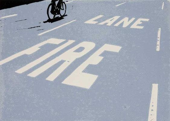 FIRE LANE, 2003, 2-Farben-Linoldruck, 21 x 30 cm