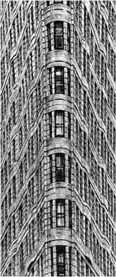 FLATIRON BUILDING, 2003, Edelstahlpigment, Feder, Tusche auf Karton, 15 x 36 cm