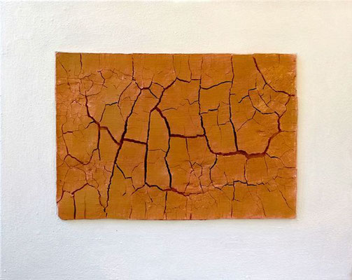 NO WATER, Pigment, Sumpfkalk auf Leinwand, 40 x 50 cm