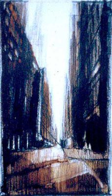 STREET, 1995, Bleistift, Aquarell, Farbstift, 9.5 x 18 cm