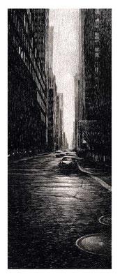 STREET, 2003, Edelstahlpigment, Feder, Tusche auf Karton, 14 x 36 cm
