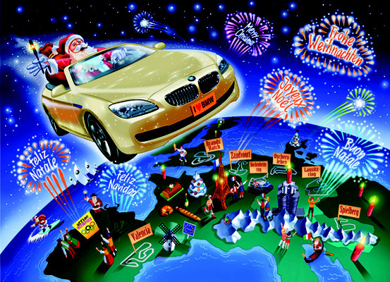 Titel: Adventskalender,  Kunde: BMW Financial Services, Technik: Fineliner, Photoshop, Entstehung: 2012