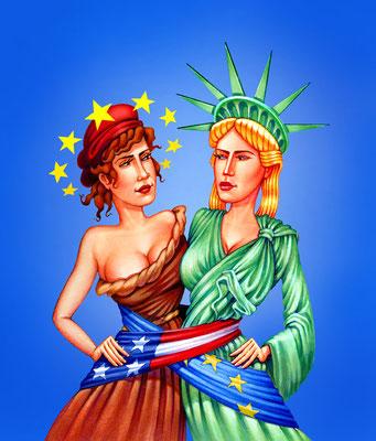 Titel: USA - Europa, Kunde: Spotlight Verlag, Technik: Fineliner, Marker-Stifte, Buntstift, Photoshop, Entstehung: 2010