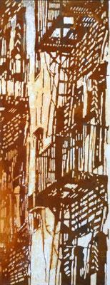 FIRE ESPAPE, 2010, Oxydierte Eisenfarbe, Acryl auf Hartschaum, 80 x 150 cm