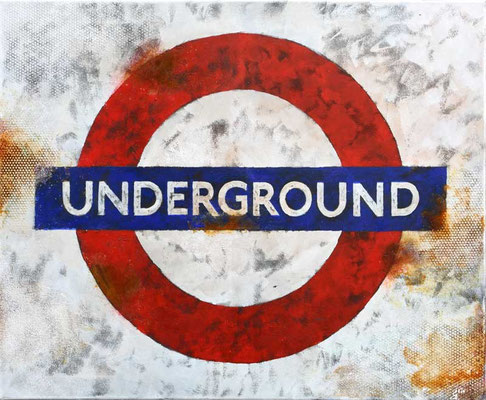 LONDON, UNDERGROUND, 2015, Oxydierte Eisenfarbe, Acryl, Strukturpaste auf Leinwand, 65 x 70 cm