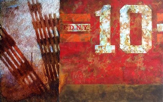NINE-ELEVEN, 2015, Granit, Strukturpaste, oxydierte Eisenfarbe, Acryl auf Leinwand, 100 x 160 cm