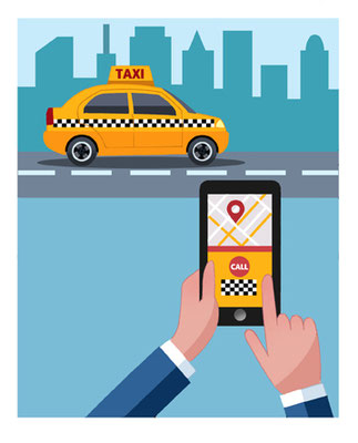 Titel: Taxi-App, Kunde: Spotlight Verlag, Technik: Fineliner, Photoshop, Entstehung: 2018