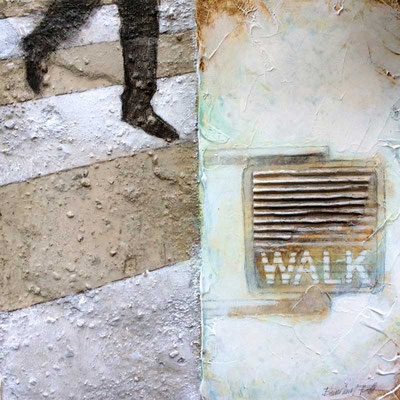 WALK, 2015, Beton, Acryl, Bleistift, oxydierte Eisenfarbe, Wellpappe, 50 x 50 cm