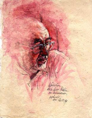 VATER, 1999, Feder, Tusche Aquarell auf Japanpapier, 22 X 29 cm