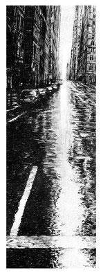 Wet Street, Feder auf Edelstahlpigment, 25 x 9 cm