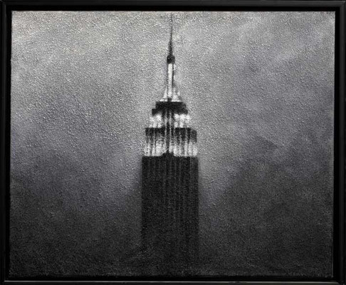 EMPIRE STATE BUILDING, 2010, Granit, Acryl auf Leinwand, 70 x 85 cm