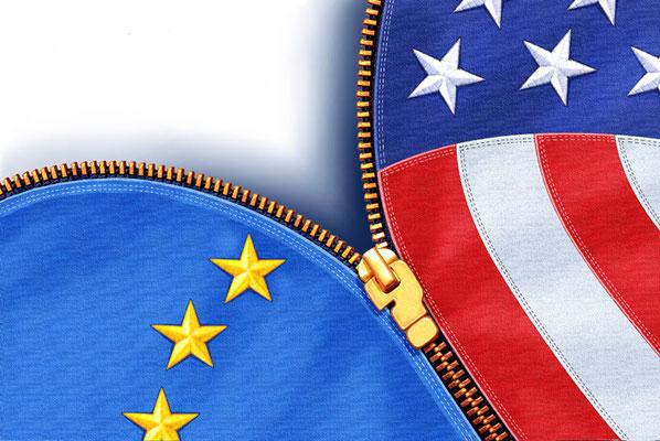 Titel: EU - USA, Kunde: Spotlight-Magazin, Technik: Fineliner, Photoshop, Acryl, Entstehung: 2007
