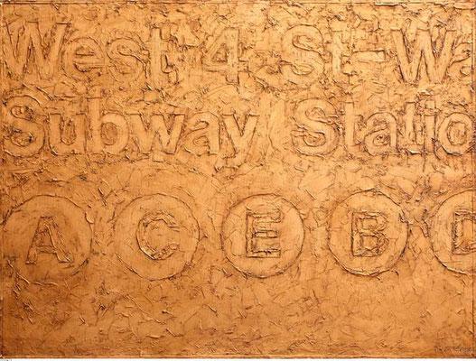 SUBWAY, 2005, Relief, Strukturpaste, Bronzepigment, Öl auf Leinwand, 60 x 80 cm