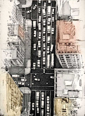 FIFTH AVENUE, 1996, Radierung auf Bütten, 18 x 25 cm