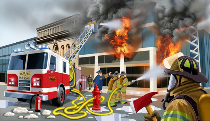 Titel: Fire-Brigade, Kunde: Spotlight-Verlag, Technik: Fineliner, Photoshop, Entstehung: 2013