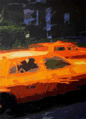 TWO YELLOW CABS, 2006, Öl auf Leinwand, 90 x 125 cm