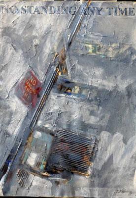 NO STANDING ANY TIME, 1988, Strukturpaste mit Materialeinbettung, Acryl, Öl auf Fotografie, 50 x 70 cm
