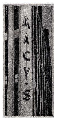 MACY'S, 2003, Edelstahlpigment, Feder, Tusche auf Karton, 16 x 37 cm