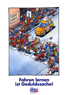 Titel: Fahren lernen, Kunde: Verlag Heinrich Vogel ,Technik: Fineliner, Acryl, Airbrush, Entstehung: 1989