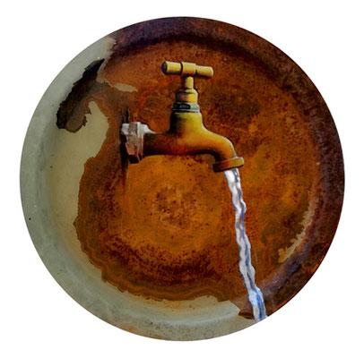 FOUNTAIN, Acryl auf oxydiertem Blech, Durchmesser 30 cm