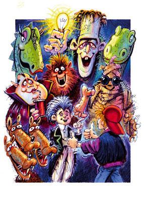 Titel: Monster, Kunde: Random House, Technik: Fineliner, Marker-Stifte, Buntstift, Tempera, Entstehung: 1995