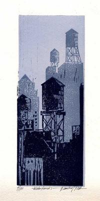 WATER TOWER, 2004, Linoldruck von 3 Platten auf Bütten, 10 x 25,5 cm