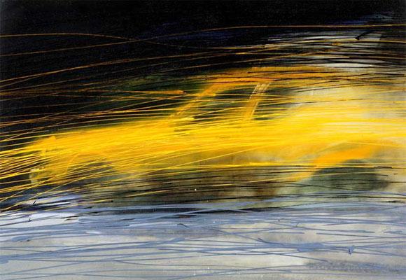 ONE YELLOW CAB, 1995, Acryl, Gouache auf Fotografie, 50 x 70 cm