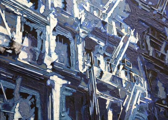 IRON CAST, 2005, Strukturpaste mit Materialeinbettungen, Acryl, Ölfarbe auf Leinwand, 130 x 180 cm
