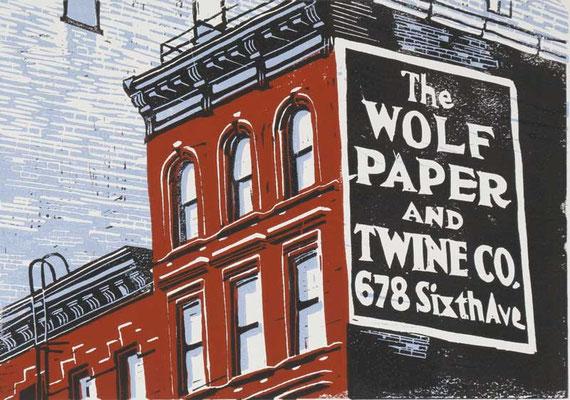 WOLF PAPER BUILDING, 1998, Linoldruck von 3 Platten auf Karton, 21 x 30 cm