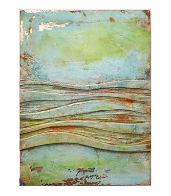 FLOW, Holz, Linol, Schlagmetall, Oxydation, 30 x 40 cm