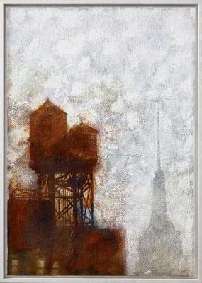 WATER TOWERS, 2006, Granit, oxydierte Eisenfarbe, Acryl auf Leinwand, 70 x 100 cm