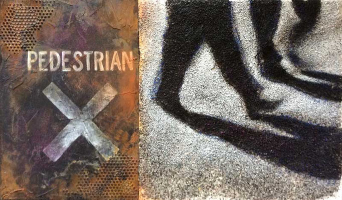 PEDS CROSSING, 2015, Asphalt, Granit, Acryl auf Leinwand, 30 x 50 cm