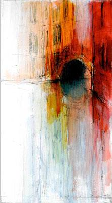 VENEDIG, BRÜCKE, 2003, Bleistift, Feder, Tusche, Aquarell, Acryl auf Karton, 33 x 60 cm