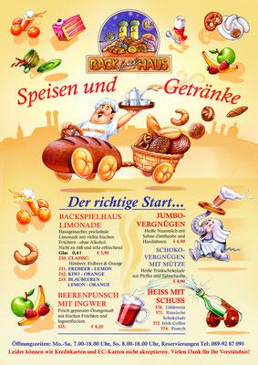 Titel: Speisekarte, Kunde: Backspielhaus, Technik: Bleistift, Marker-Stifte, Buntstift, Photoshop, Entstehung: 2007