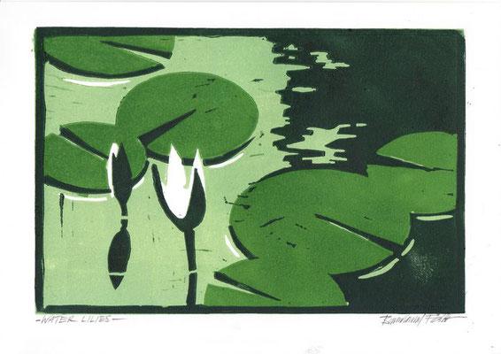 WATER LILIES, Linoldruck von 3 Platten, 17 x 26 cm