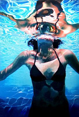 Underwater swimmer, Acryl auf Leinwand, 135 x 90 cm