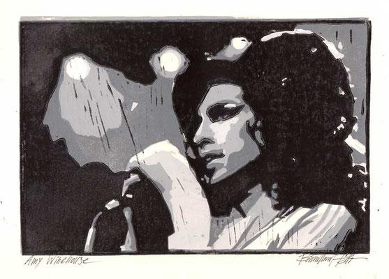 AMY WINEHOUSE, 2012, Linoldruck von 3 Platten, 17,5 x 25,5 cm
