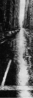 WET STREET, 2003, Edelstahlpigment, Feder, Tusche auf Karton, 12,5 x 33,5 cm