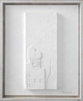 WATER TOWERS, 2006, Holz, Linol, Acryl, 40 x 50 cm