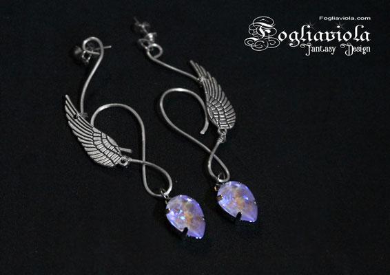 Orecchini elfici con cristallo viola