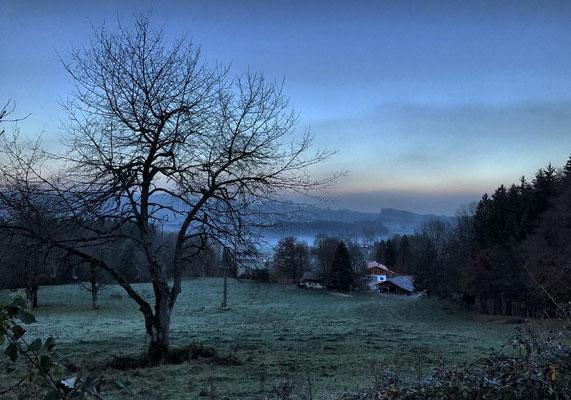 Blick zur Talstation der Hochriesbahn